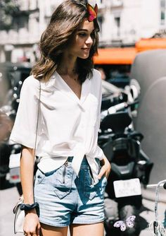 Women's Clothing, Shoes, & Accessories | Nordstrom Simple white knotted shirt with cute denim shorts.<br>