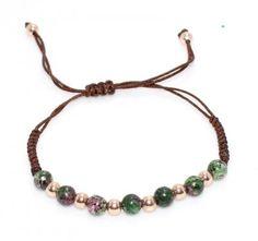 925 Ayar Gümüş Kahverengi İpli, Turmalin Taşlı, Rose Gümüş toplu Bileklik #nusrettaki #bileklik #wristband #kuyumcu #gümüş #taş #silver #jewelry #jewellery #bracelet