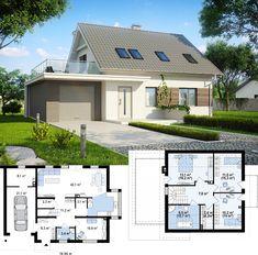 Проект дома Z231. Дом с мансардой и гаражом на один автомобиль.