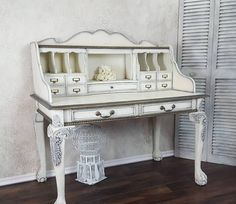 white gold painted desk - painted furniture #affiliate