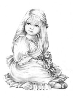 Little Girl by Sugar Nellie Stamps - Coloring Page/Line Art Drawing/B&W Image Printable Adult Coloring Pages, Cute Coloring Pages, Colouring Pics, Coloring Pages To Print, Coloring Books, Art Drawings Sketches, Animal Drawings, Fairy Coloring, Colorful Pictures
