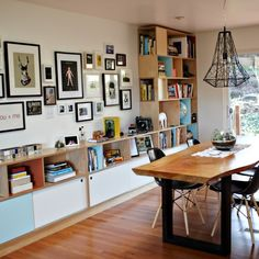 Like the shelves and artwork display and chandelier