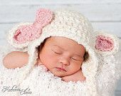 Baby Lamb Hat -Made to order-0-3 months or 3-6 months