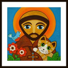 St FRANCIS of Assisi with Ginger Tabby CAT & Bird by thatsmycat