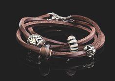 #bracciale in cuoio marrone #Trollbeads con #beads in Vetro e Argento #men's fashion