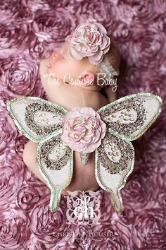 SEQUIN BEAUTY Sequin Vintage Dusty Pink Butterfly Wings and Headband Photo Prop First Photos
