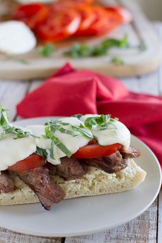 Open Face Caprese Steak Sandwich