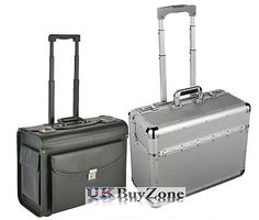 #Aluminium / faux leather pilot case #business travel work #briefcase trolley bag,  View more on the LINK: http://www.zeppy.io/product/gb/2/391155954468/