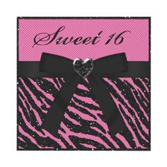 Cute and cool pink and black glitter animal print Sweet 16 birthday party invites with black fishnet, digital black ribbon and bow and a cute black sparkle heart jewel. $1.95. Beautifully decorated both sides. Easy to customize. Good volume discounts. #sweet16 #animalprint #pink #glitter #sparkle #bling #teengirlsparty