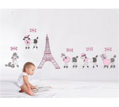 Poodles in Paris Wall Stickers  available at www.kidzdecor.co.za. Free postage throughout South Africa