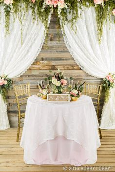 Dress up your cake table with gold and floral accents for an elegant, vintage feel!