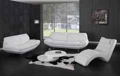 Pisani   Modern White Leather Sofa Set