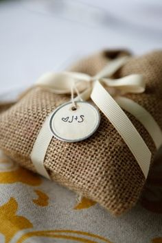 Coffee burlap bag favors. Has Z written all over it.