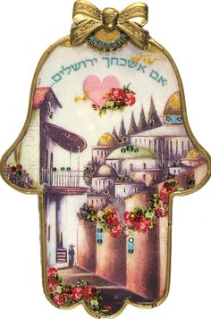 By Artist Michal David 'If I Forget Thee Jerusalem'  Wall Hamsa