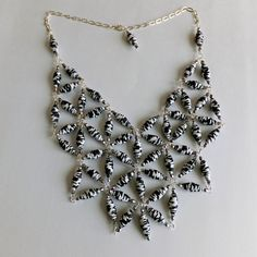 Black and White Unique Paper Bead Bib Necklace