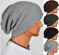 Chic Men Knitting Slouchy Beanie Cap Baggy Winter Hat Oversize Unisex in Clothing, Shoes & Accessories, Men's Accessories, Hats Knitted Hats, Crochet Hats, Crochet Slouchy Beanie, Slouchy Beanie Hats, Mens Fashion, Fashion Outfits, Fashion Tips, Mode Style, Hats For Men