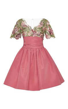 Floral Applique and Silk Faille Dress by Marchesa for Preorder on Moda Operandi