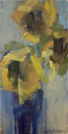 "Lynn Johnson, ""Sunflower in Blue Vase"", Oil on Canvas, 40x24 - Anne Irwin Fine Art"