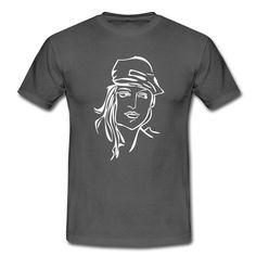 Jüngling - Männer T-Shirt oder doch eine junge, freche Frau?? Tags: Fräulein, Haare, Haarig, Hippie, Junge, Kontur, Konturgrafiken, Kunst, Mann, Pilot, Silhouette, design, hut, jüngling, maidle, pilotin