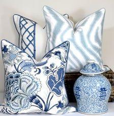 Blue And White Pillows, Blue Pillows, Throw Pillows, Blue Pillow Covers, Blue And White Fabric, Accent Pillows, Classic Cushion Covers, Classic Cushions, Hamptons Style Decor