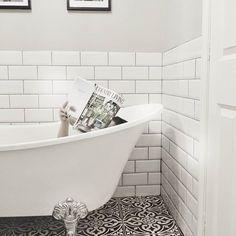 Devon Stone Black Feature Floor Tile - Tons of Tiles Bathroom Inspo, Bathroom Ideas, Family Bathroom, Bathroom Interior Design, Clawfoot Bathtub, Tile Floor, Tiles, Home And Garden, New Homes