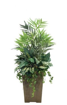 Natural Decorations, Inc. - Palm Caladium Ivy | Shown in Container J, Tall Square Planter Antique Clay   Dining Room