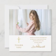 Golden Signature Photo First Holy Communion Thank You Card Thank You Card Size, Photo Thank You Cards, Thank You Messages, Custom Thank You Cards, Photo Signature, First Holy Communion, Zazzle Invitations, Custom Photo, Holiday Cards