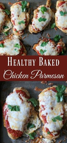 Healthy Baked Chicken Parmesan Recipe. Easy sheet pan recipe that uses simple ingredients and baked in the oven. This my favorite lightened-up Italian recipe.