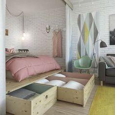 Room. Smart Storage, Hidden Storage, Storage Drawers, Large Drawers, Diy Storage Under Bed, Underbed Storage Ideas, Small Room Storage Ideas, Clever Storage Ideas, Bra Storage