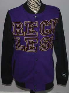 Young & Reckless Jacket Mens Small Coat Purple Black Varsity Snaps Y&R Logo VTG #YoungReckless #BasicJacket