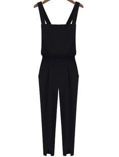 Black Criss Cross Strap Split Jumpsuits US$23.88