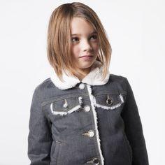 Little Marc Jacobs - Girls Grey Fur & Denim Jacket |