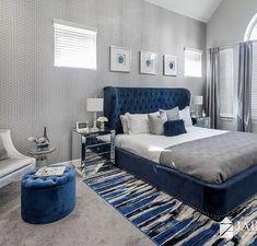 Room Design Bedroom, Grey Bedroom Decor, Home Room Design, Home Bedroom, Black And Grey Bedroom, Blue Master Bedroom, Blue Headboard, Blue Bedding, Royal Blue Bedrooms