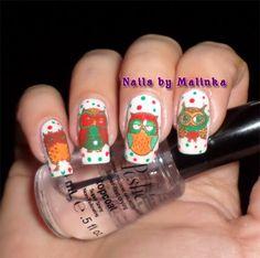 Nails by Malinka: Retro uilen / owls, plate Qgirl-036