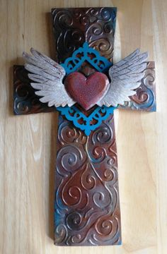 OOAK faux metal found object wood winged by CrossMyArtByLynnWebb Hand Painted Crosses, Wooden Crosses, Crosses Decor, Wall Crosses, Cross Wall Art, Clay Cross, Cross Hands, Old Rugged Cross, Cross Crafts
