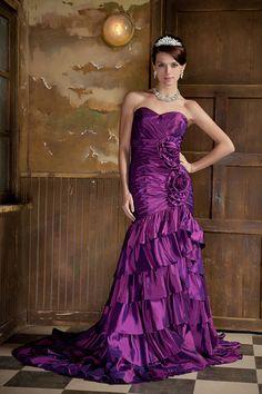 Trumpet/Mermaid Sweetheart Taffeta Court Train Color Wedding Dress