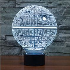 Color Changing 3-D LED Death Star Lamp! Grab your 3D illusion LED Night Lamp while you still can! - Illuminates in 7 colors: (press the button to change the colors) - 1 x USB Cable - Size : Approx. 23