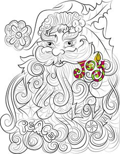 Santa Claus colouring page Peace Love Joy Christmas by ChanDraws