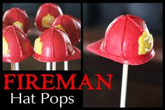 cake pops for fire auction! Fireman Cake, Fireman Party, Firefighter Cupcakes, Fireman Wedding, Cake Pops, Fireman Birthday, 23rd Birthday, Fire Fighter Cake, Hat Cake