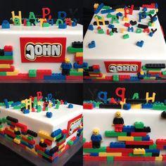 Da John früher viel mit Lego gespielt hat, wollte seine Mutter für ihn eine Lego Torte zum 17. Geburtstag.  Für dich John,  auch von mir alles Gute zum Geburtstag! Lego Torte, Fondant, Birthday, Cake, Desserts, Food, Design, Birhday Cake, Birthdays