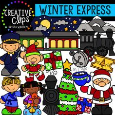 This 38-image set is packed with fun on the Winter Express! Included are 23 vibrant, colored images and 15 black and white versions. This set can also be used to create resources with a Polar Express theme.*THIS SET IS ALSO INCLUDED IN MY HUGE WINTER STORY BUNDLE If you have purchased that bundle, you already own this!Images include:- pajama boy- pajama girl- santa- elf- Christmas tree- train engine (front and side view)- train cars- snowy mountain- winter night sky- bell- presents- hot…