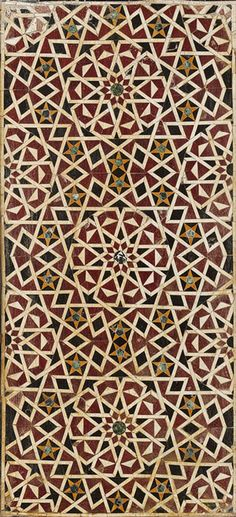Dado panel, first half of 15th century; Mamluk, Egypt  Polychrome marble mosaic