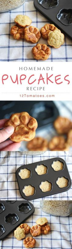 We love our furry family members so much we can't help but spoil them with fresh and healthy treats that they devour in seconds…plus we simply can't get enough of those little paw prints! Our dogs love this recipe (and we love it for it's fresh simplicity) but combined with this muffin tin these pupcakes really couldn't get any better!