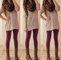 long sweater, maroon tights, brown combat boots, cheetah scarf