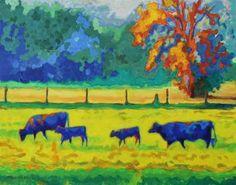 "Saatchi Art Artist Bertram Poole; Painting, ""Texas Cows and Calves at Sunset Painting T Bertram Poole 24""x30"""" #art"