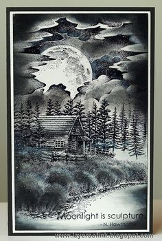 Layers of ink - By the Silver Moon, scenic stamping with Stampscapes stamps and Ranger inks, on glossy cardstock. For Craft a Scene.