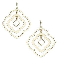 Darenda Earrings in Gold - Kendra Scott Jewelry ($70) ❤ liked on Polyvore featuring jewelry, earrings, gold earrings jewelry, earrings jewelry, yellow gold drop earrings, medallion earrings and drop earrings