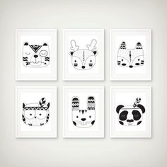 Woodland Tribal Black & White Art Print Set of 6 - Woodland Decor - Tribal Art - Minimal Art - Set of 6 Prints Nursery Wall Decals, Nursery Prints, Nursery Art, Art Blanc, Monochrome Nursery, Art Tribal, Woodland Decor, Woodland Nursery, Make Up Art