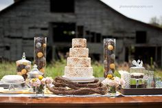 New theme: Rustic Wedding. I love this cake...