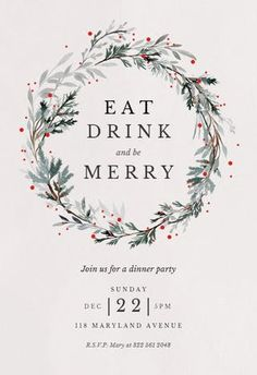 Free Holiday Party Invitation Template Best Of Holiday Wreath Christmas Invitation Template Free Free Christmas Invitation Templates, Christmas Dinner Invitation, Dinner Invitation Template, Christmas Party Invitations, Free Christmas Printables, Christmas Templates, Dinner Party Invitations, Invitation Maker, Free Printable Invitations